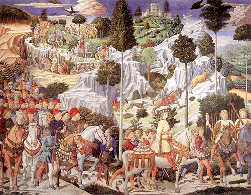 Sigismundo and Gemisthus in Gozzoli's pageant, Adoration of the Magi, Paazzo Medici Riccardi