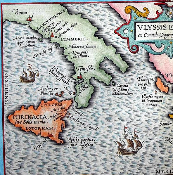 592px Aeaea the island of Circe located south of Rome with the Islands of the Sirens closeby